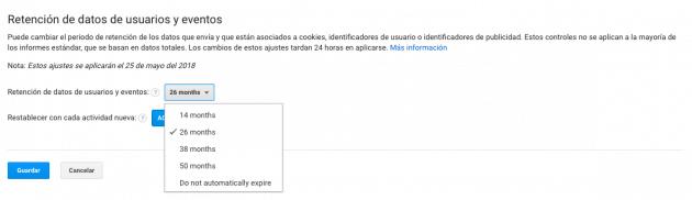 Configurar retención de datos en una propiedad de Google Analytics